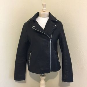 FOREVER 21 Motorcycle Jacket Vegan Leather Black L